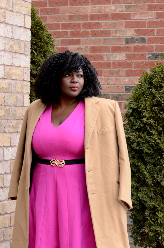 PLus size fashion for women- #pinkdress #how to style a pink dress #curves #plussize