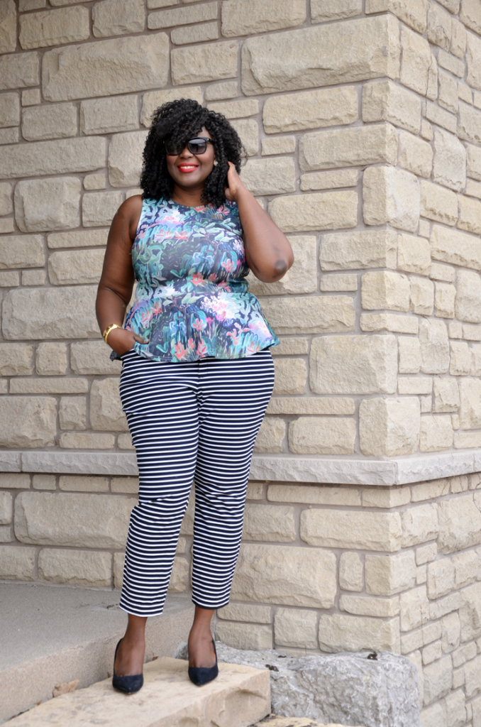 Mixing Prints: Floral peplum top, Stripe pants, #plussize fashion blogger