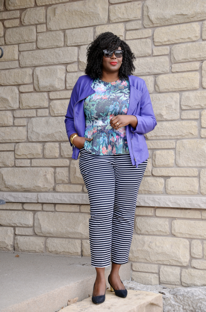 Mixing Prints: Floral peplum top, Stripe pants, purple moto jacket #spring style#plussize fashion blogger