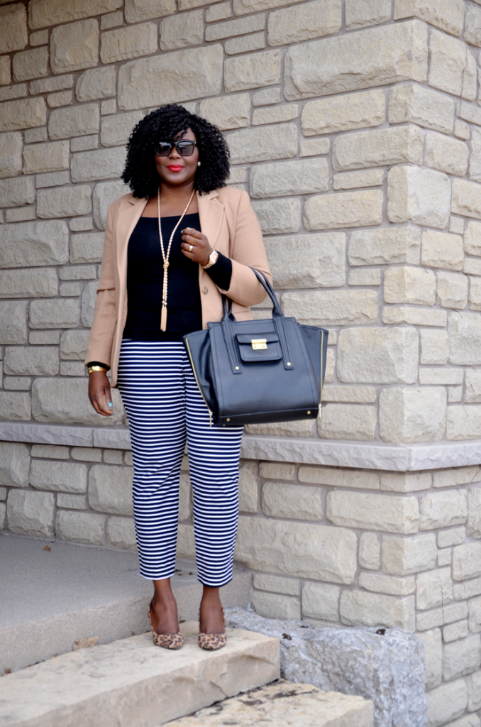 Plus size office outfit idea : Camel blazer, striped pants, leopard shoes - love this combo
