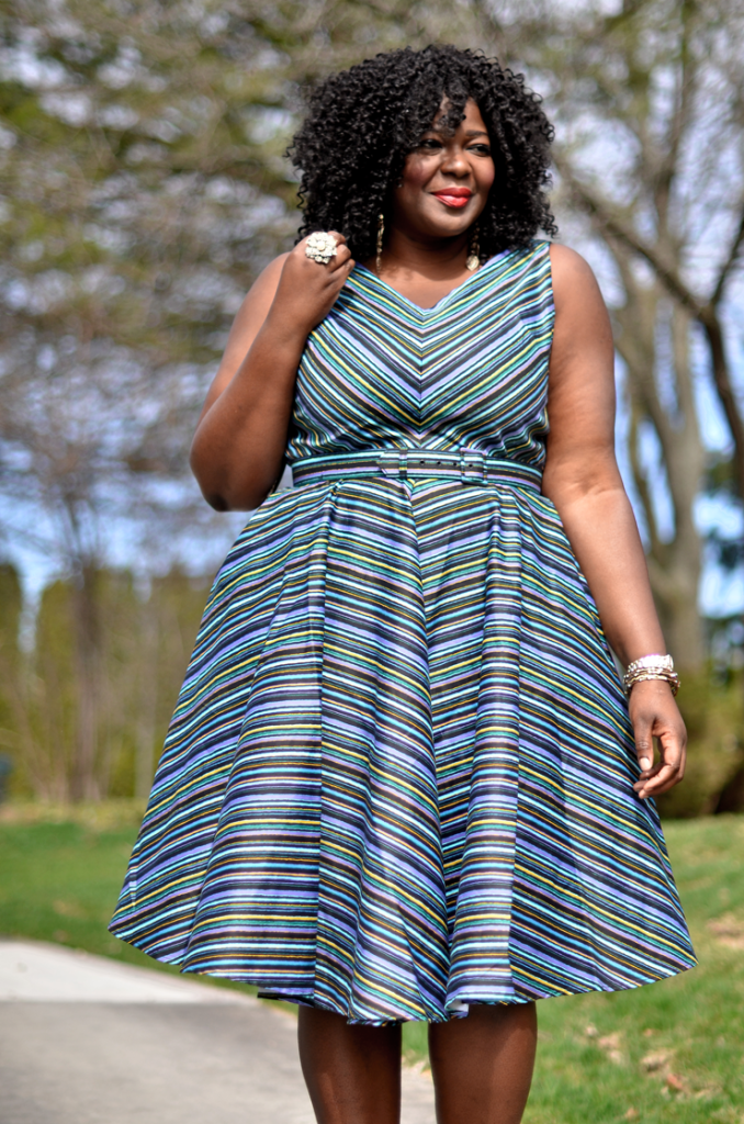 Assa cisse wearing a Fit and Flare dress from Pinup girl -mycurvesandcurls.com