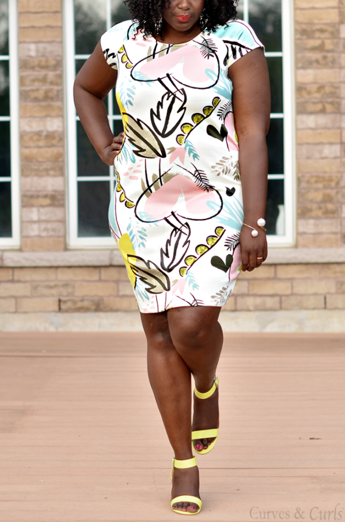 Graphic print bodycon dress from Addition Elle- PLus size canadian blogs