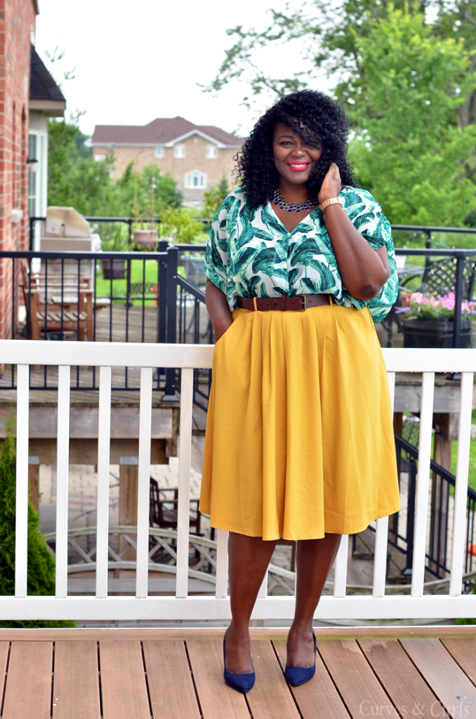 Mustard midi skirt and palm print to-mycurvesandcurls.com-Assa cisse