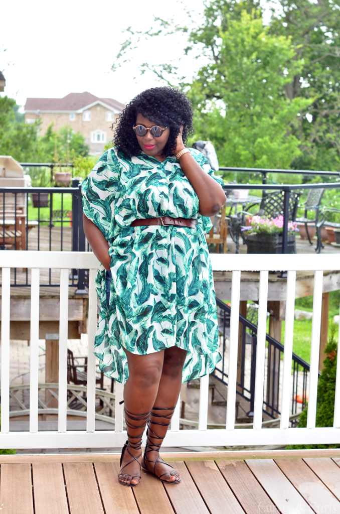 PLus size cover-up- how to wear h&m palm print