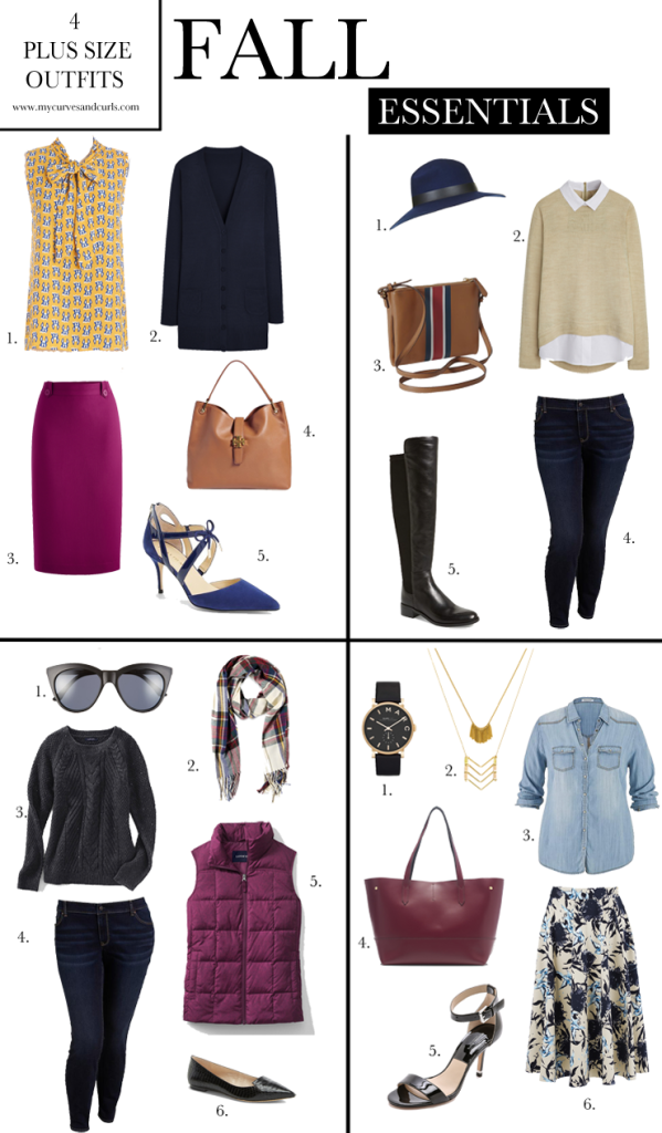 Plus size fall essentials. 4 amazing outfit ideas for plus sized ladies. There is one of work , Weekend , date night ,and for shopping.