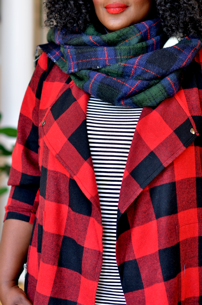 Buffalo plaid with stripes top.How to mix print