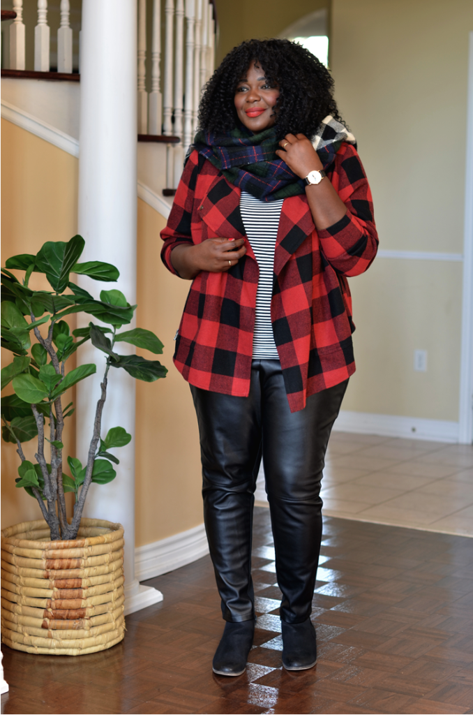 how to wear a faux leather plaid #buffaloplaid and stripes top + blanket scarf #plussize #women #style