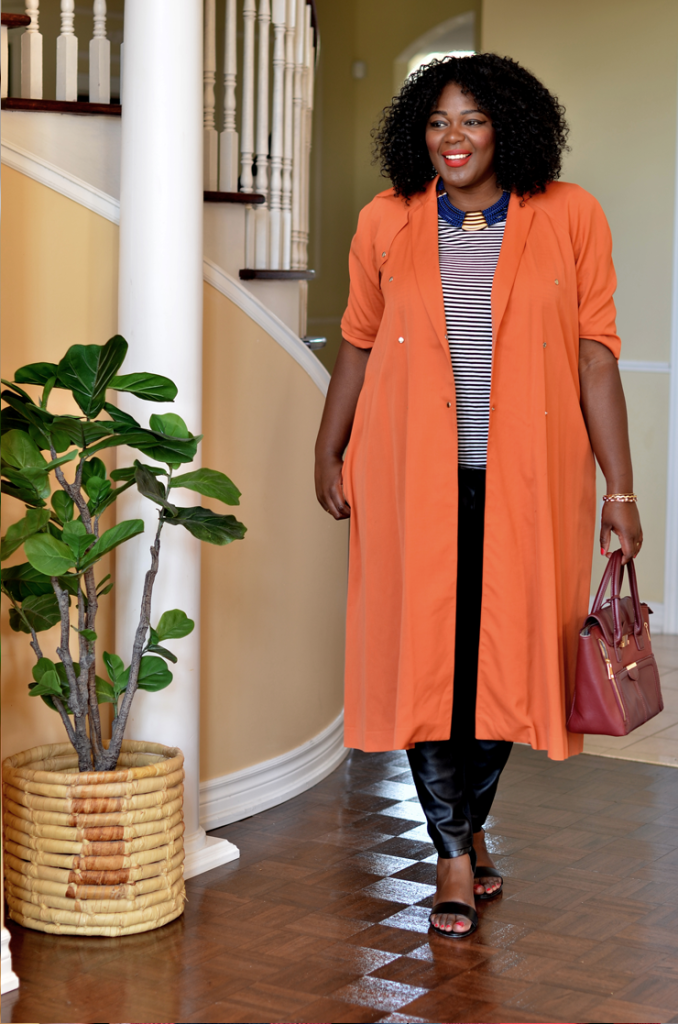 how to wear a faux leather jacket #stripes top + leather pants and orange trench coat #plussize #women #style