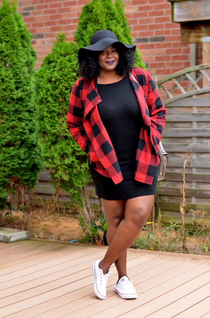 Sporty Chic in my Fab Buffalo Plaid Jacket #converse #plussize #style