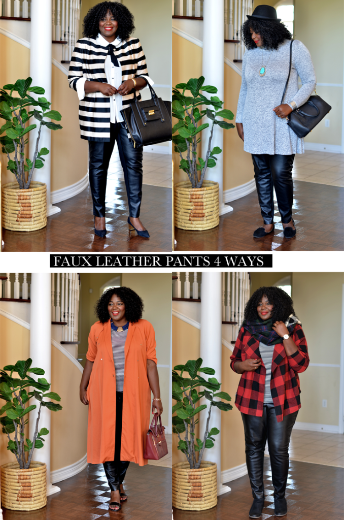 how to wear a faux leather pants 4 different ways #mycurvesandcurls #plussize #women #style