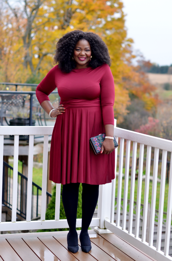 Plus size convertible dress from Henkaa. #burgundy dress #curves #curlyhair #