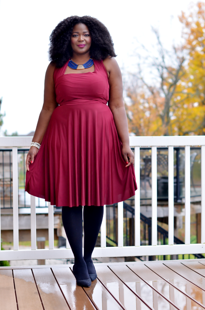 Plus size convertible dress from Henkaa. #burgundy dresse #curves #curlyhair #