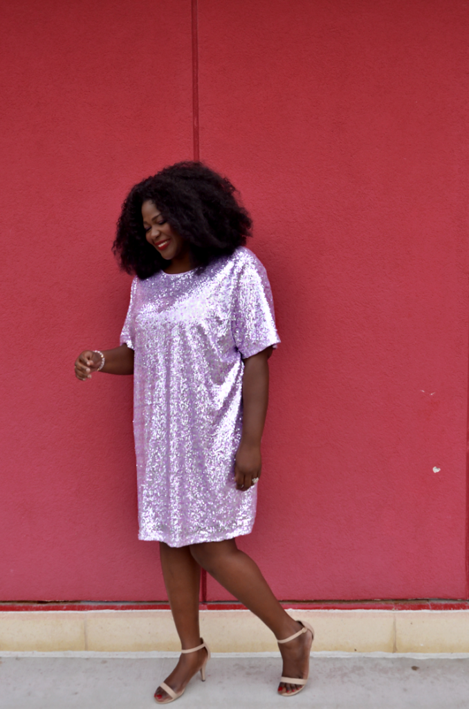 Pink Sequin Shirt Dress-mycurvesandcurls.com
