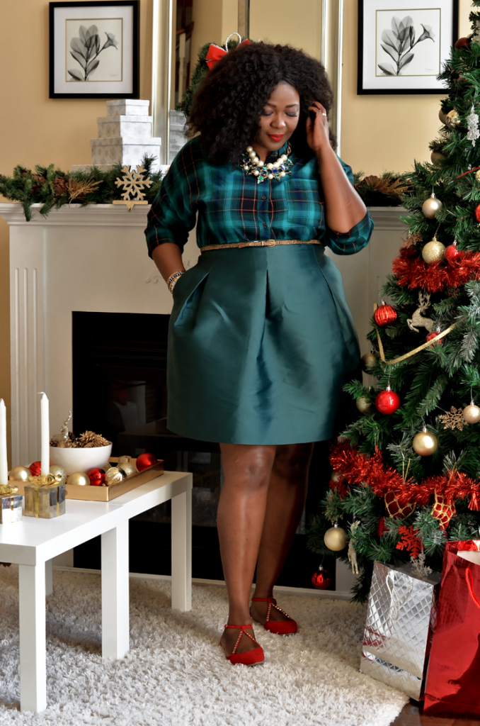 Assa Cisse Wearing cute plaid shirt with a tube skirt - Toronto- lifestyle blogger