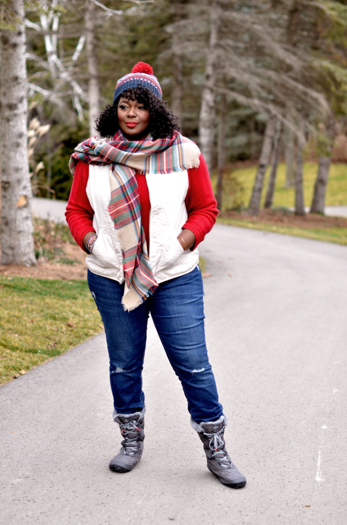 Ivory Quilted Vest + Plaid Blanket Scarf #plussize fashion for women