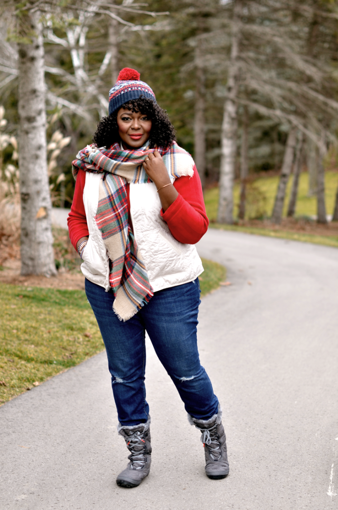 fall-outfits ivory quilted vest with red sweater and blanket Scarf. #plussize #curves #Plaid #oldnavystyle