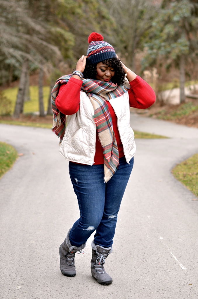 Ivory Quilted Vest + Plaid Blanket Scarf - mycurvesandcurls