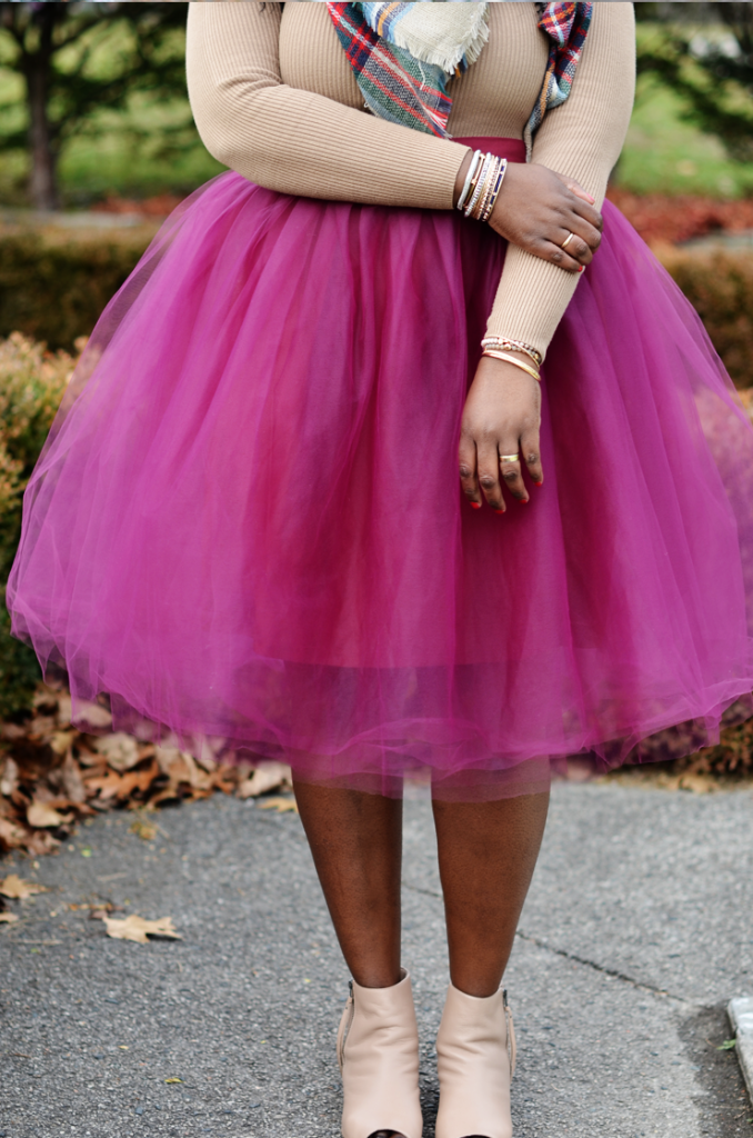 how to wear a tulle skirt -plus size fashion blog