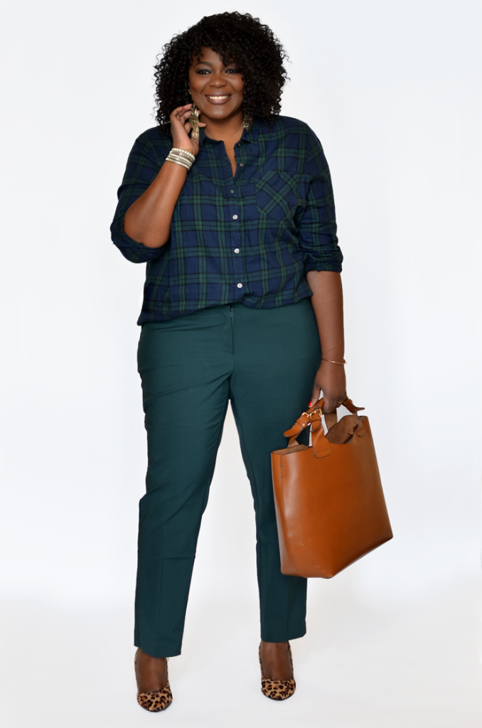 how to wear an ankle pants #tallblogger #Plussize psblogger. Plaid shirt + ankle pants