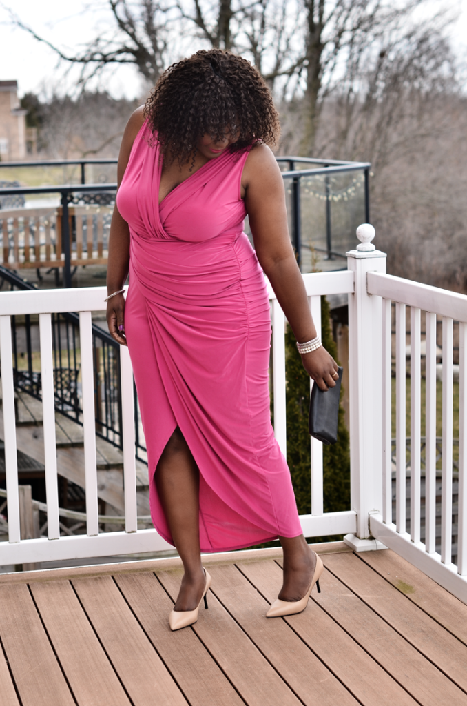 Pink Plus size Draped Dress- mycurvesandcurls.com