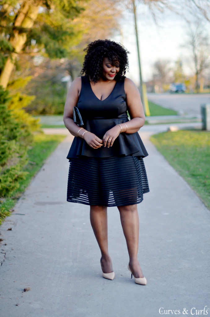 Assa Cisse - Wearing a  mesh midi skirt and peplum top from Le Chateau