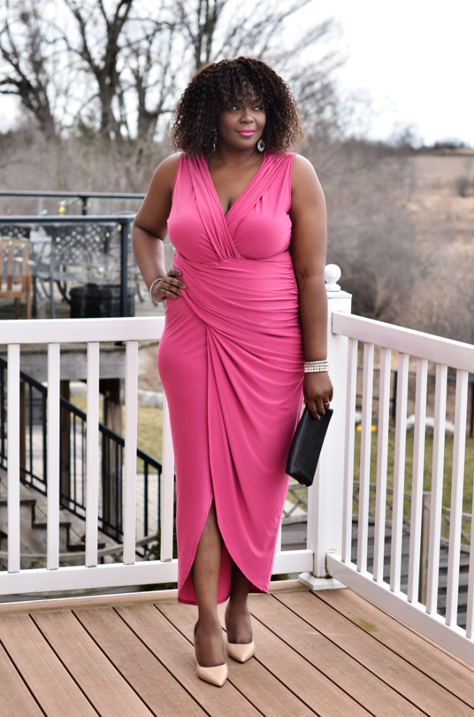 Canadian plus size fashion blogger- Assa Cisse wearing fashion to figure pink draped dress