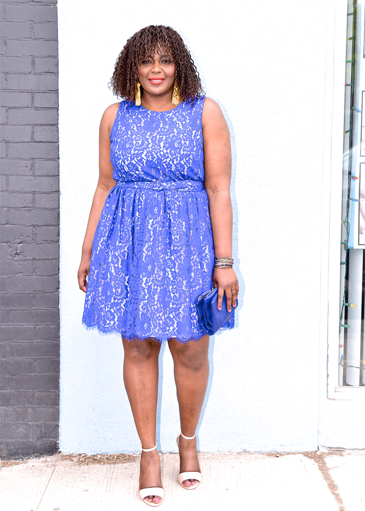 Cutout Back Belted Lace Fit & Flare Dress (Plus Size)